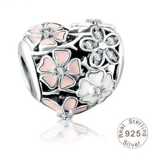 POETIC BLOOMS HEART PINK Magnolia FLORAL 925 Sterling Silver Bracelet Charm