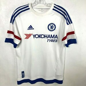 Chelsea FC Yokohama Tyres Soccer Youth XL White & Blue ADIDAS Climacool Jersey