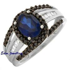 US$1655 Gorgeous Ring 2.05ctw Black Opaque Diamond Sapphire White Gold 80% OFF