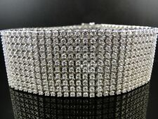 30 CT BRAND NEW MENS SOLID WHITE GOLD 10 ROW VS DIAMOND TONI BRACELET BANGLE
