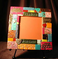 """FOREVER FRIENDS mosaic tile frame is handmade 7"""" lovely, 1 of a kind, FREE SHIP!"""