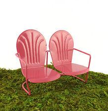 Closeout! Dollhouse Miniature Fairy Garden Retro Metal Lawn Bench, DEEP PINK