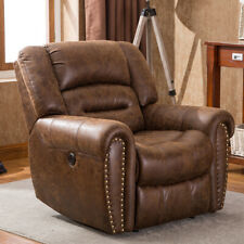 Electric Power Recliner Chair W/Breathable Bonded Leather W/USB Port Nut Brown