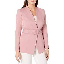 MSRP $79 Tahari ASL Women's Collarless Belted Jacket Make up Pink Size 18