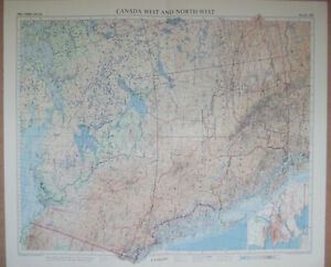 Canada West And North West Vintage 1957 Colour Map ~ Vancouver Calgary Edmonton