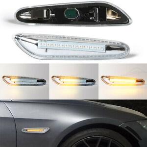 Dynamic Clear LED Side Marker Turn Signal Lights For BMW E90 E83 E92 E82 E46 E60