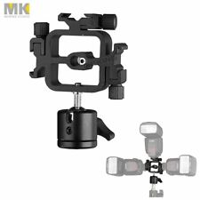 MK Triple Swivel 3 Hotshoe Flash Bracket Umbrella Holder Mount + Mini Ballhead