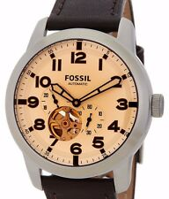$195 NWT Fossil Men's Pilot 54 Automatic Leather Strap Watch ME3119