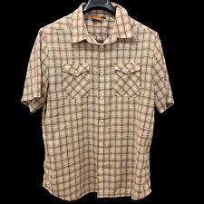 Merrell Shirt Sz XL Mens, Short Sleeve, Button Up, Plaid, Beige, Green, Red