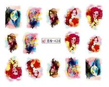 NAIL Art Decalcomanie trasferimenti ADESIVI acquerello donna (db428)