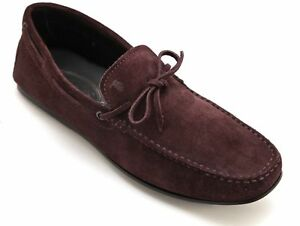 TOD'S Loafer Moccasin Suede Men's GOMMINO DRIVING Shoe Dk Plum Sz 8