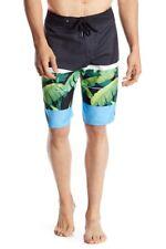 "Quiksilver Men's 34 Waist Slab Island Blue Green Black 21"" Board Shorts Tropical"