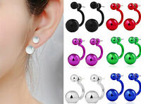 new women Girl Ear Studs Ball Double Sides Earrings Pearl Imitation earrings