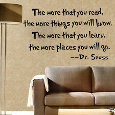 Saying Quote DR SEUSS Wall Sticker Vinyl Decal Sofa Decor Art DIY Black