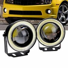 """Pair 3"""" Inch Cob Led Fog Light Projector 6500K White Lamps Halo Angel Eyes Ring(Fits: Neon)"""