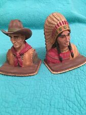 """Vintage """" Cowboy & Indian� Resin Bookends By Seasons Of Cannon Falls/Midwest"""