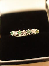 9 CARAT GOLD EMERALD & DIAMOND ETERNITY / WEDDING / DRESS RING MADE IN UK BNIB