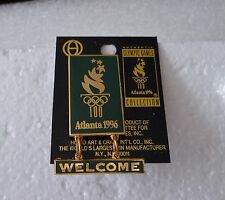 "Vintage 1996 Atlanta Summer Olympic games ""Welcome"" hang-tag pin"