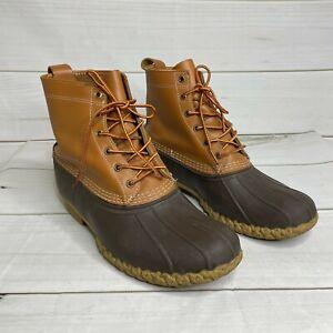 Men's 13 L.L.Bean Brown Lace-Up Rain Duck Boots