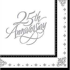 25th Silver Anniversary Printed 3 Ply Napkin/Serviettes 16pk