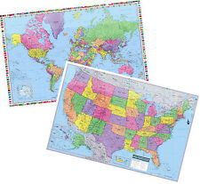 "2017 UNITED STATES & World Wall Maps Posters - 2 Rolled Laminated Maps 36""x24"""