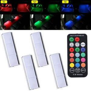 4Pcs RGB LED Car Interior Accessories Floor Decor Atmosphere Lamp Ambient Light