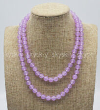Fashion Jewelry Natural 8mm Purple Violet Jade Gems Round Beads Necklace 14-36''