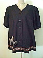Russell Kemp pant set woman plus 1X 2X black linen zebra bead embroider 2pc size