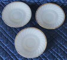"""Vintage Fire King White with Gold Trim 3, Saucers Oven Ware, 6"""" Round"""