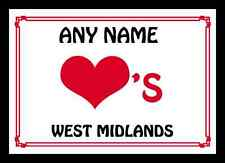 Love Heart West Midlands Personalised Mousemat