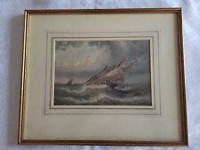 Aquarelle s/ papier Albert Bredow 1828-1899 Marine