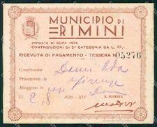 Rimini Città Ricevuta del Comune di Rimini Tessera 05276 PIEGHE KF2472
