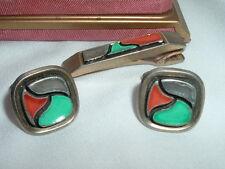 VINTAGE ANNSON ART MODERNE CERAMIC CUFFLINKS AND TIE CLASP SET IN GIFT BOX