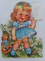 1946 Vtg Little GIRL w DOLL Matching DRESS Wagon Ruffles BIRTHDAY GREETING CARD