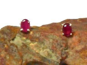 Pink Oval RUBY  Sterling Silver 925 Gemstone Stud Earrings - 5 x 7 mm