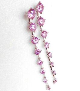 Women 8cm Very Long Dangle Pink Earrings White Gold Plated Simulated Diamond UK