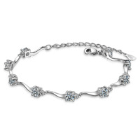 Solid 925 Sterling Silver Clear Zircon Charm Bracelet Bangle Gift For Women Lady