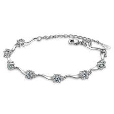 925 Sterling Silver Shiny Zircon Chain Bracelet Women Elegant Jewellery