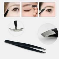 Professional Black Eyebrow Tweezers Hair Beauty Slanted Stainless Steel Tweezers