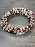 Vintage  Bohemian Glass AB Crystal  Beaded Flex Wire Multi Strand  Bracelet