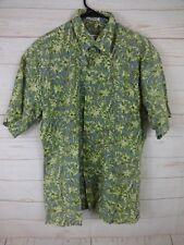 Burma Bibas Mens Size M Green, White & Blue 100% Cotton Short Sleeve Shirt  J588