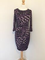 Coast Dress UK 10 Purple Leopard Print Stretch Bodycon Ruched Dress Party Spring