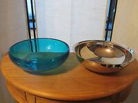 ALESSI *NEW* Coupe résine bleu clair et inox brillant h.10cm d.30cm AMMI04AZ