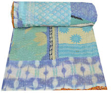 Indian Cotton Patchwork Print Kantha Bedspread Handmade Quilt Twin Blanket Throw