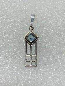 Gorgeous Blue Topaz Stone Rennie Mackintosh Style Pendant 925 Solid Silver #9593