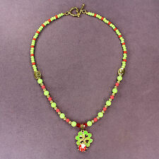 CLOVERBUG CHARM NECKLACE Ladybug 4-Leaf Clover Heart Magic Double Luck Love Gold