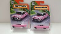 MATCHBOX '55 CADILLAC FLEETWOOD LOT OF 2 NEW PINK MBX ROAD TRIP FREE SHIPPING