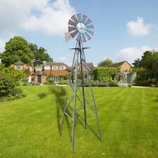 8Ft Weather Resistant Yard Garden Windmill Ornamental Decor Wind Vane Grey