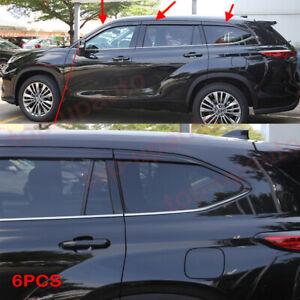 For Toyota Highlander 2020-2022 black Window Visor Vent Shades Sun Rain Guard 6X
