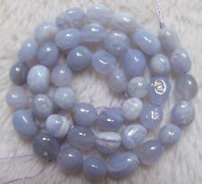 9x10mm Natural Blue Chalcedony Freeform Loose Beads 15.5""